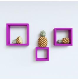 Desi Karigar Wall Mount Shelves Square Shape Set Of 3 Purple Wall Shelves