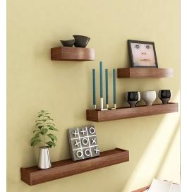 Desi Karigar Brown Engineered Wood Wall Shelves - Set Of 4