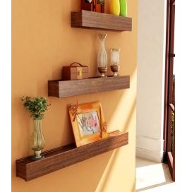 Desi Karigar Brown Engineered Wood Wall Shelves - Set Of 3