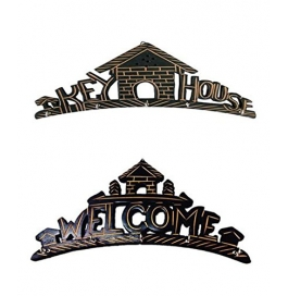 Desi Karigar Beautiful Wooden Wall Hanging Key Holder (key House & Welcome) . A Perfect Key Holder Set Of 2