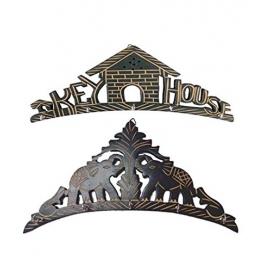 Desi Karigar Beautiful Wooden Wall Hanging Key Holder (key House & Elephant Shape) . A Perfect Key Holder Set Of 2