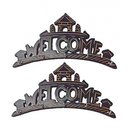 Desi Karigar Beautiful Wooden Wall Hanging Key Holder (welcome) . A Perfect Key Holder Set Of 2