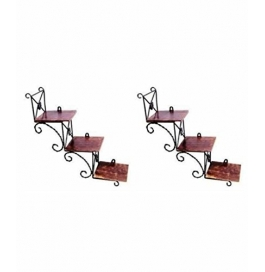 Desi Karigar Beautiful Wooden Wall Hanging Shelf A Unique Wall Art In Stair Shape - Set Of Two