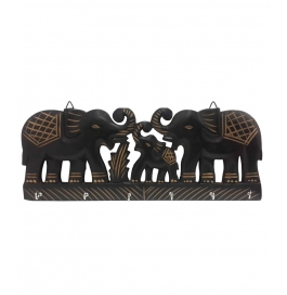 Desi Karigar Wooden Wall Hanging Elephant Family Key Hanger