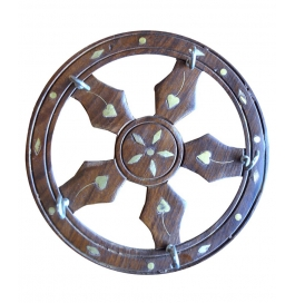 Desi Karigar Brown Wooden Wheel Shaped Key Holder