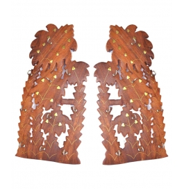 Desi Karigar Brown Wooden Wall Hanging - Set Of 2