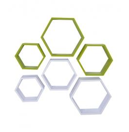 Desi Karigar Wall Mount Shelves Hexagon Shape Set Of 6 Wall Shelves - White & Green