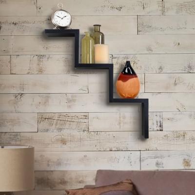Desi Karigar Floating W Shape Wooden Wall Shelf