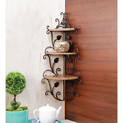 Desi Karigar Wall Mounted Wooden Corner Rack