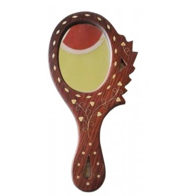 Desi Karigar Wooden Hand Mirror ( Brown )