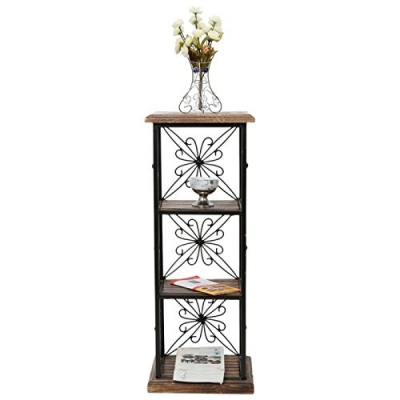 Desi Karigar Wood & Iron Book Shelf Cum End Table With 3 Shelves Size(lxbxh- 11.5x9.5x31) Inch