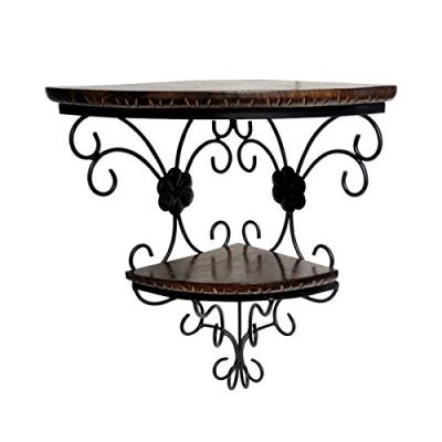 Desi Karigar Wrought Iron & Wooden Fancy Double Bracket Shelf Size (lxbxh-14x9.5x18) Inch