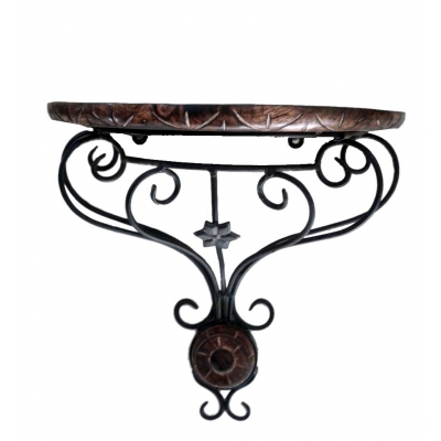 Desi Karigar Wooden & Wrought Iron Wall Bracket/d-shape ( Black, 11x6x12 )