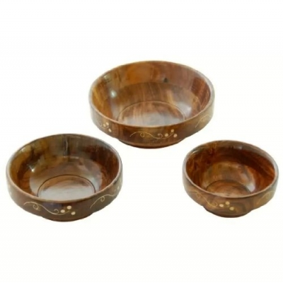 Desi Karigar Wooden Bowl Set & Free 3 Tea Spoons ( Brown, 4, 5, 6 Inch )