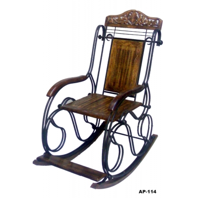 Desi Karigar Wooden & Iron Rocking Chair (black)