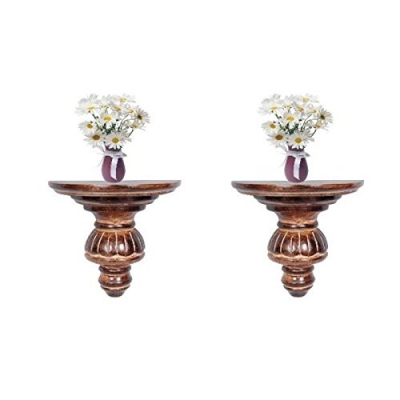 Desi Karigar Home Decor Premium Solid Wood Shelf Rack Wall Bracket Wall Rack Set Of 2