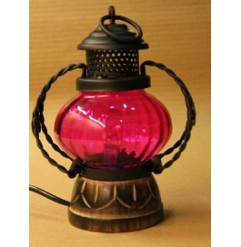 Desi Karigar Wooden & Iron Hand Carved Colored Electric Chimney Lantern Design ~ Pink ( Pink, 7 X 5 Inch )