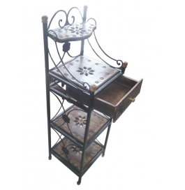 Desi Karigar Wooden & Wrought Iron Rack With Drawer ( Black, 12 X 12 X 40 Inch )