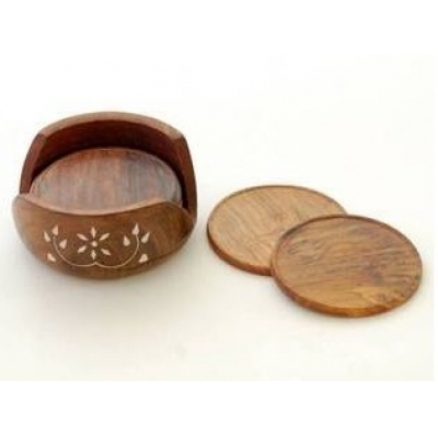 Desi Karigar Wooden Coaster Set ( Brown, 4 Inch )