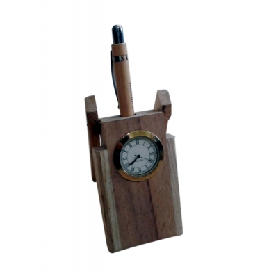 Desi Karigar Wooden Pen Stand With Clock ( White )