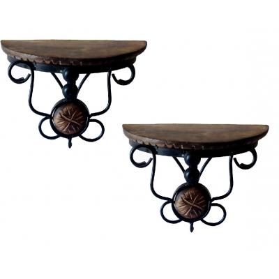 Desi Karigar  Beautiful Wood & Wrought Iron Fancy Brown Wooden Handicrafts Bracket Holder Pack Of 2