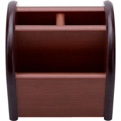 Desi Karigar 3 Compartments Wooden Cum Pen Holder Size-lxbxh-3x3x4 Inch