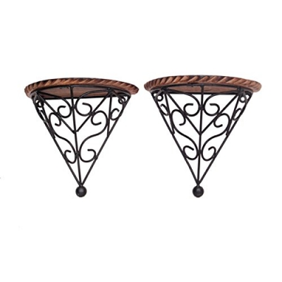 Desi  Karigar Wooden & Iron Fancy Design Wall Bracket/rack Size (lxbxh-8x4x8) Inch Set Of 2