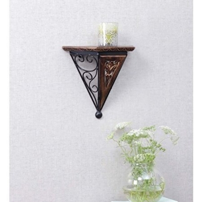 Desi Karigar  Beautiful Wood & Wrought Iron New Fancy Wall Bracket Size (lxbxh-14x7x15 Inch)