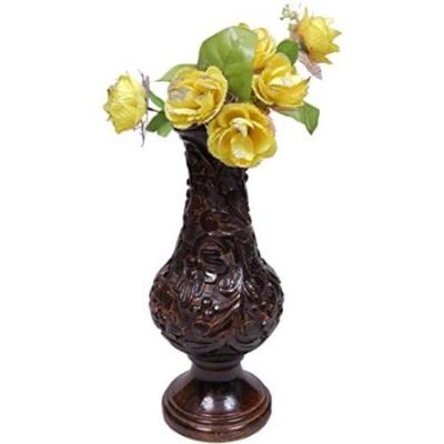Desi Karigar Beautiful Wooden Antique Hand Carved Flower Vase Size (lxbxh-10x10x23) Inch