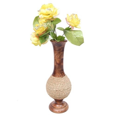 Desi Karigar  Beautiful Wooden Antique Hand Carved Flower Vase Size (lxbxh-6x6x16.5) Inch