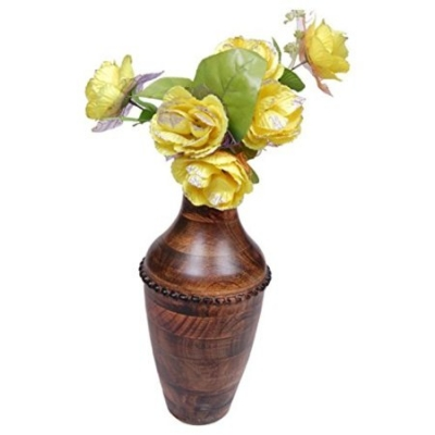 Desi Karigar  Beautiful Wooden Antique Hand Carved Flower Vase Size (lxbxh-7x7x16.5) Inch