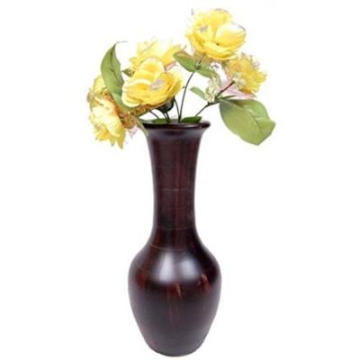 Desi Karigar Beautiful Wooden Antique Hand Carved Flower Vase Size (lxbxh-7x7x17) Inch