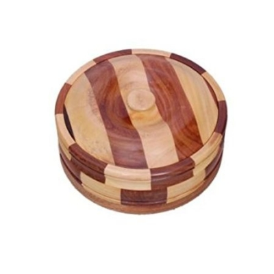 Desi Karigar Beautiful Wooden Antique Handcrafted Chapati Box