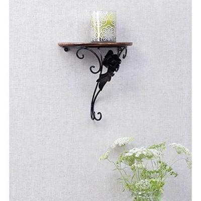 Desi Karigar Wooden & Wrought Iron Wall Rack Bracket Shelf Fancy Design