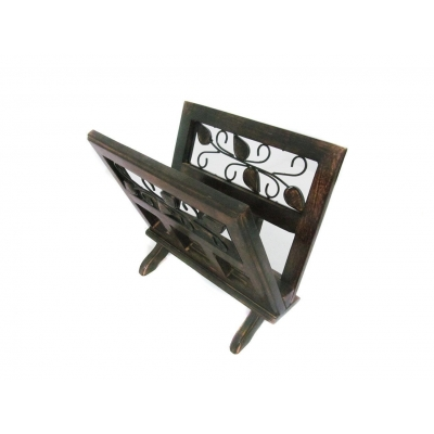 Desi Karigar Fancy Solid Wood & Wrought Iron Book & Magazine Holder Stand