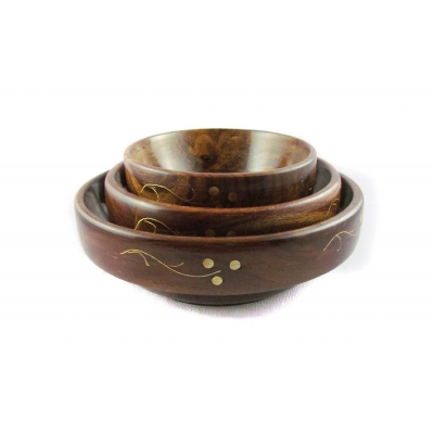 Desi Karigar Fancy Wooden Brass Work Set Of 3 Serving Bowl