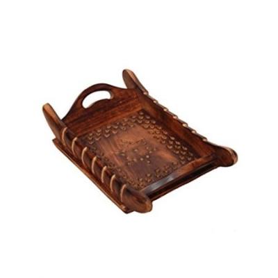Desi Karigar  Handicrafts Designed Brown Tray Wood Carvings Big-(11x7x2)inch