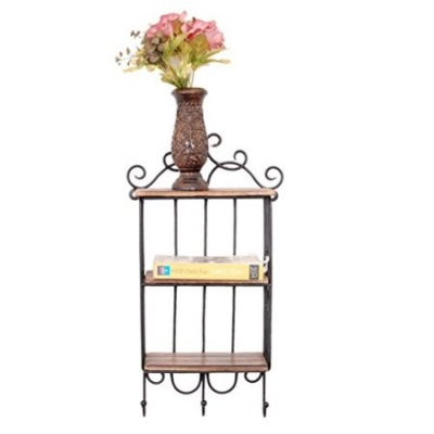 Desi Karigar Home Decor 3 Shelf Book/ Kitchen Rack With Cloth/cup Hanger Size(lxbxh-13x5x24) Inch