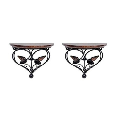 Desi Karigar Home Decor Premium Quality Leaf Design Shelf Rack Wall Bracket Wall Rack Set Of 2