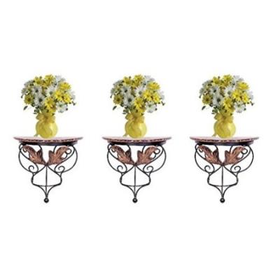Desi Karigar Wood & Wrought Iron Hand Carved Leaf Design Wall Bracket Combo Pack Of 3