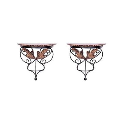 Desi Karigar Wood & Wrought Iron Hand Carved Leaf Design Wall Bracket Set Of 2