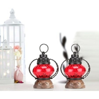 Ddesi Karigar  Red Wooden, Glass Lantern Size(lxbxh-5x5x7) Inch Pack Of 2