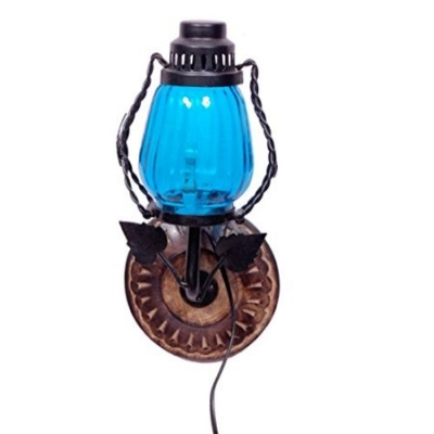 Desi Karigar Wooden & Iron Fancy Wall Hanging Electric Chimney Lamp Sise(lxbxh-6x5x11) Inch, Color Skyblue