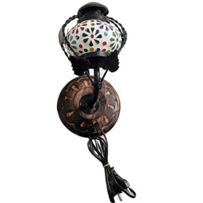 Desi Karigar Wooden & Iron Fancy Wall Hanging Electric Colored Chimney Lamp Design