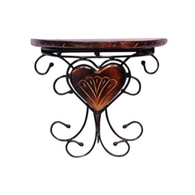 Desi Karigar Wooden & Wrought Iron Fancy Design Wall Bracket/rack For Wall Decoration Size (lxbxh-11.5x5.5x10.5) Inch