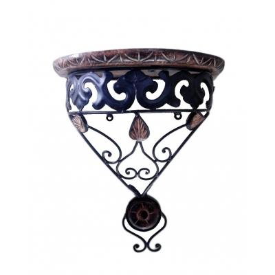 Desi Karigar Wooden & Wrought Iron Wall Bracket ? D-shape ( Black, 11x6x12 )