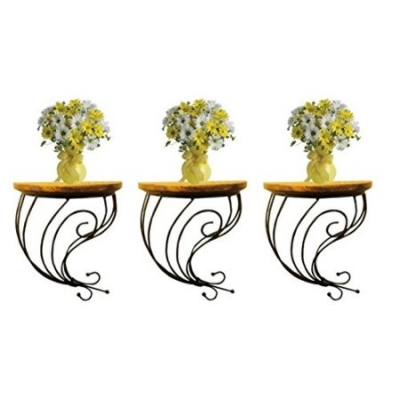 Desi Karigar Wooden & Wrought Iron Wall Bracket Combo Pack Of 3