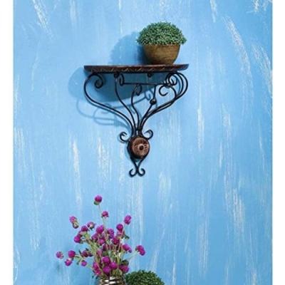Desi Karigar Wooden & Wrought Iron Wall Bracket D-shape