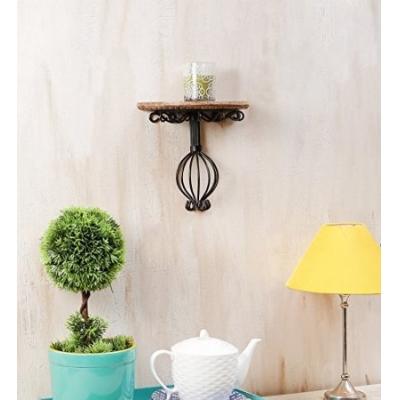 Desi Karigar Wooden & Wrought Iron Wall Bracket Size (lxbxh-10x5x9) Inch