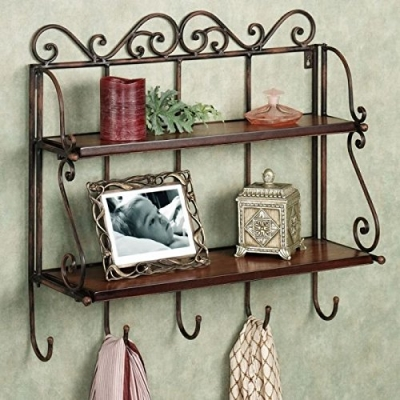 Desi Karigar Home Decor 2 Shelf Book/ Kitchen Rack With Cloth/key Hanger Size -lxbxh-15x5x20 Inch
